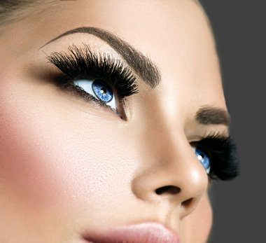 Beauty face makeup. Eyelashes extensions stock vector
