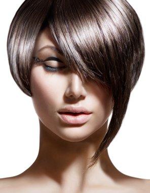 Woman with Fashion Haircut.