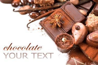 Chocolates border isolated