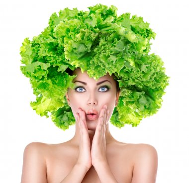 girl with green Lettuce hairstyle.
