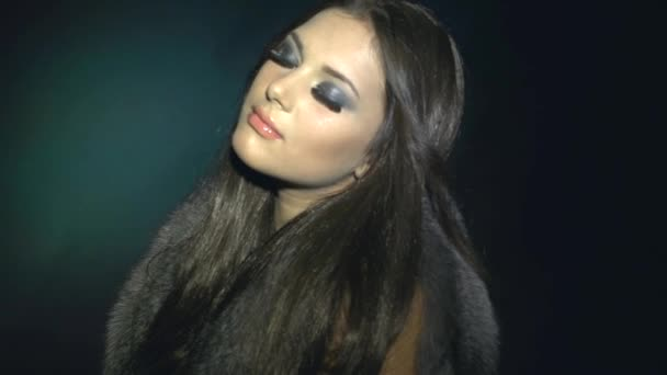 Fashion Model Girl in Fur Coat