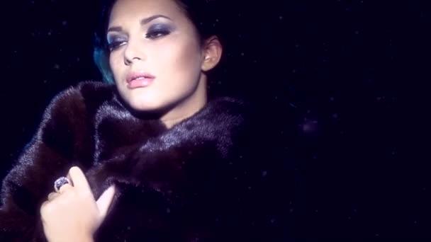 Model Girl in Mink Fur Coat