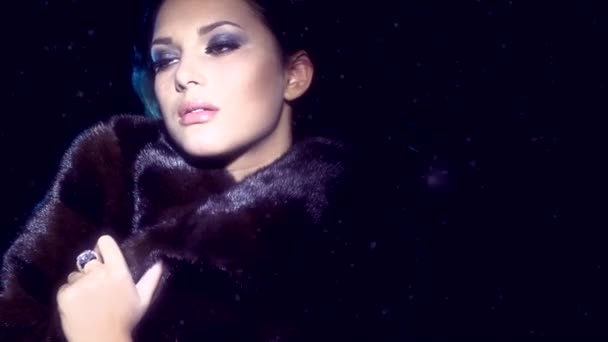 Model Girl in Mink Fur Coat