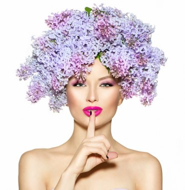 girl with lilac flowers hairstyle
