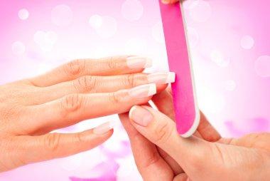 Woman in a beauty nail salon