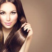 girl with healthy brown hair