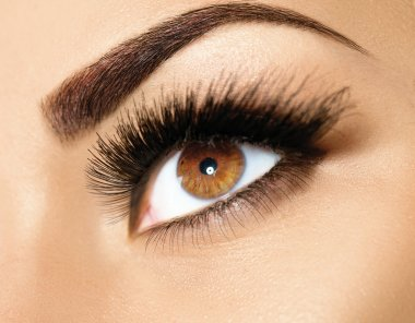 Brown eye makeup.