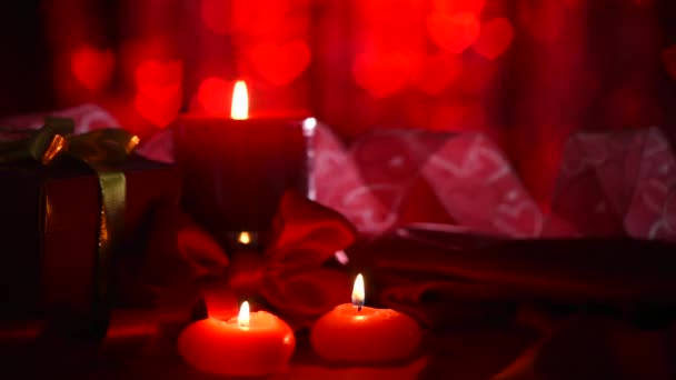 Beautiful Valentine scene with  candles.