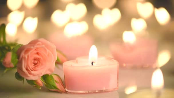 Romantic Valentines Candles and flowers.
