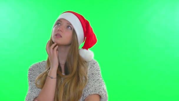 Krásná dospívající dívka v santa hat
