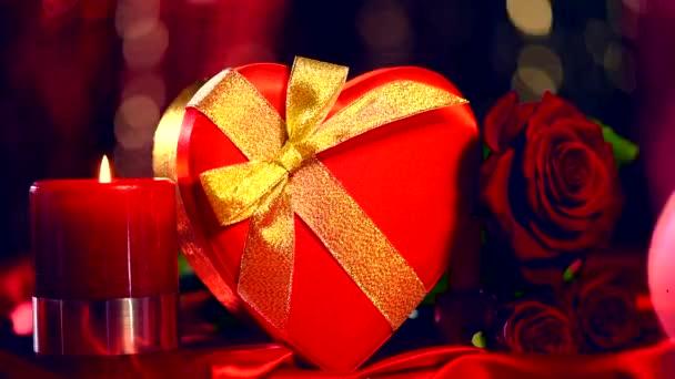 Valentine red heart, gift box