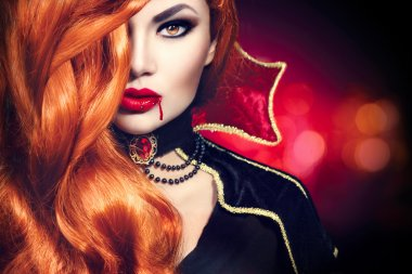 Halloween vampire woman portrait.