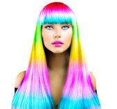 Fotografie Mädchen mit bunt gefärbten Haaren