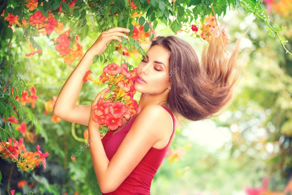 Beauty model girl enjoying nature