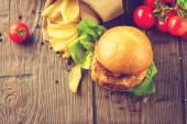 Fotografie Chutné burger s smažené