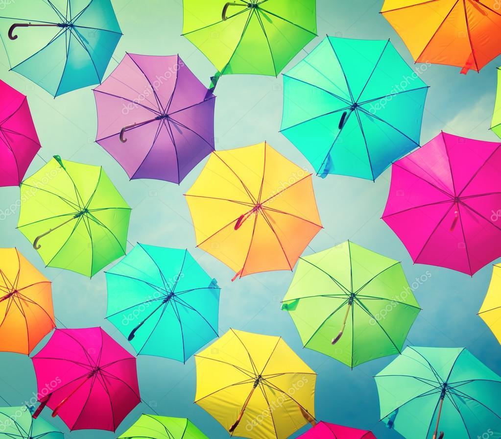 umbrellas urban street decoration
