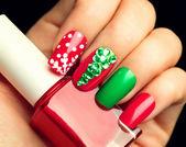 Photo Christmas  holiday nail art manicure