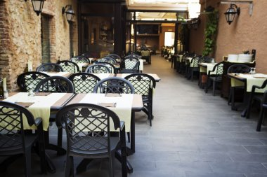 Restaurant tables in the open air