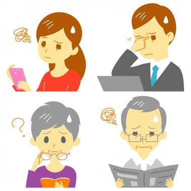 Men and women suffering from Presbyopia, eyestrain, vector file stock vector