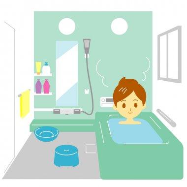 Taking a bath, woman