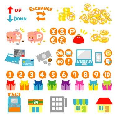 Point coins icon set