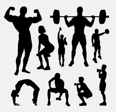 Body builder male and female sport silhouette