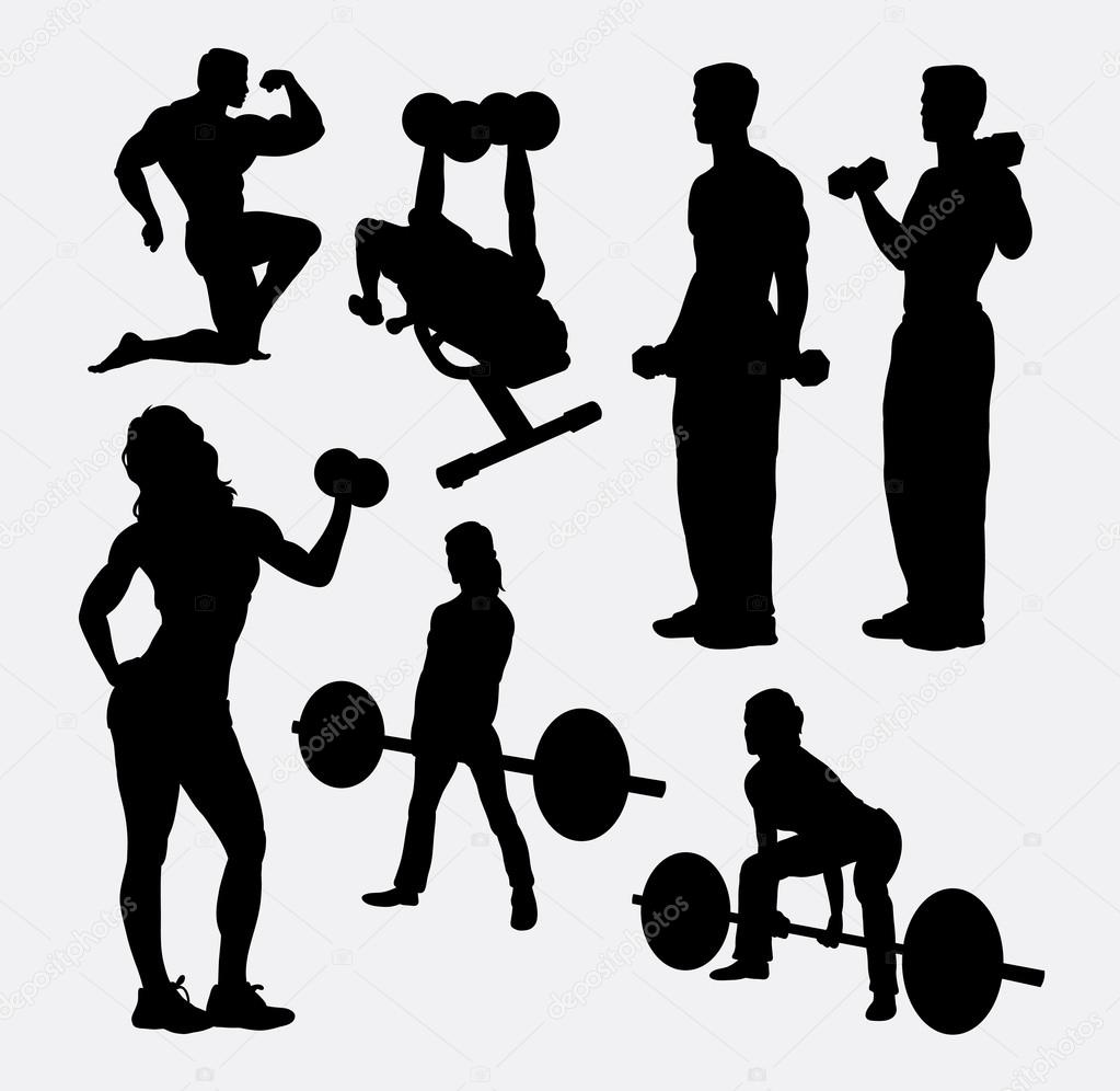 Fitness Male And Female Activity Silhouette Stock Vector