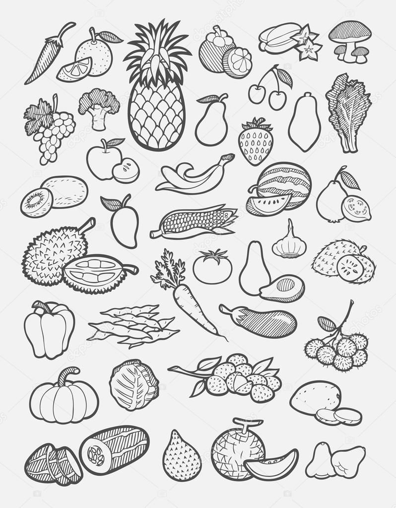 set of fruits and vegetables hand drawing icons u2014 stock vector