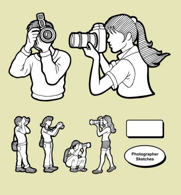 Photographer icons sketch style