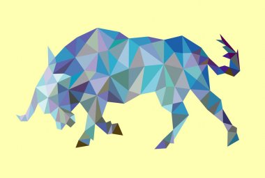 Bull Low Polygon Style vector