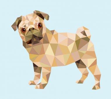 Pug dog triangle low polygon