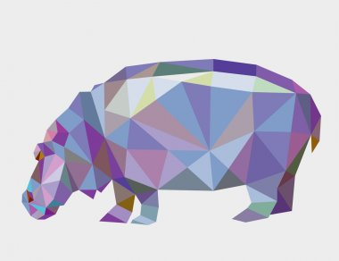 Hippopotamus animal triangle low polygon