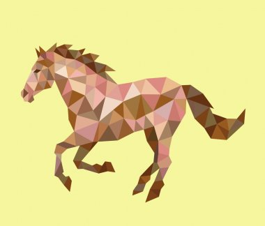 Running horse triangle low polygon