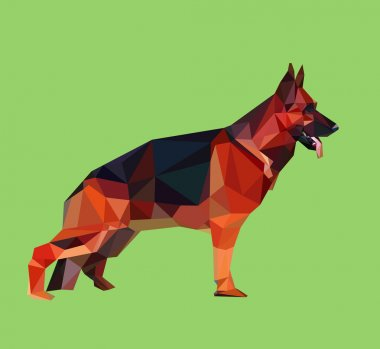German shepherd dog low polygon