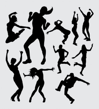 Aerobic dance male ande female silhouettes