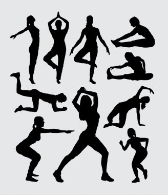 Aerobic women fitness sport silhouettes