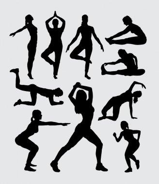Aerobic women fitness sport silhouettes