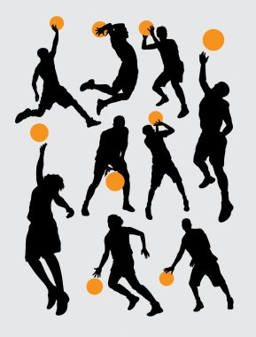 Basketball sport silhouettes