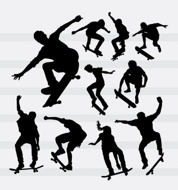 Skateboarder male and female sport silhouettes. Good use for symbol, web icons, logo, mascot, or any design you want. Easy to use. stock vector