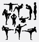 Photo Thai boxer martial art silhouettes