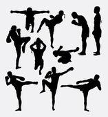 Photo Thai boxer martial art silhouettes