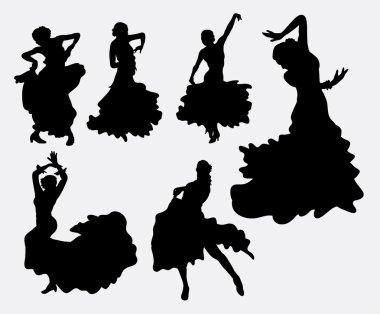 Female flamenco dancer silhouettes.