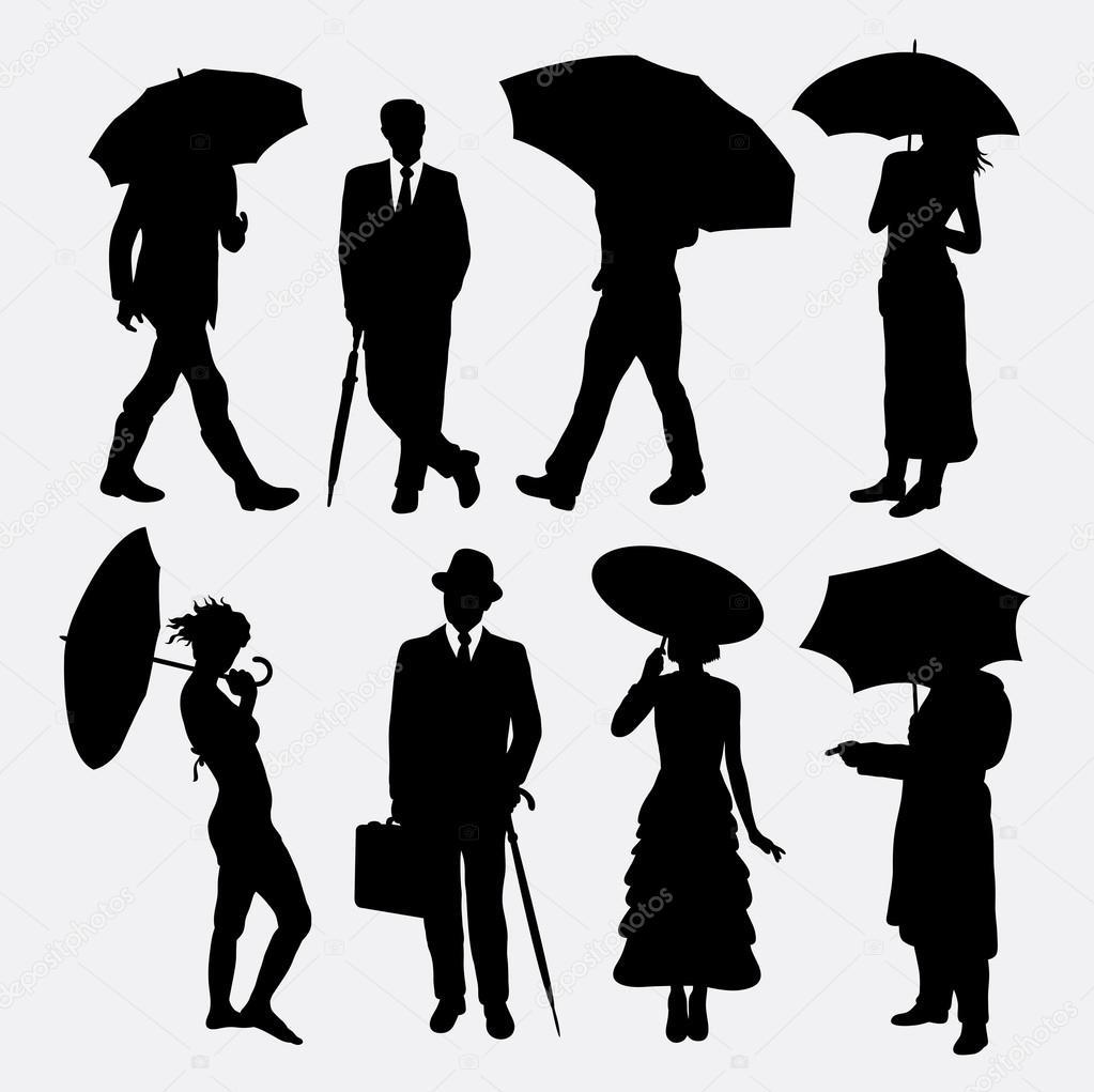 Personas con siluetas de paraguas — Vector de stock © Cundrawan703 ...