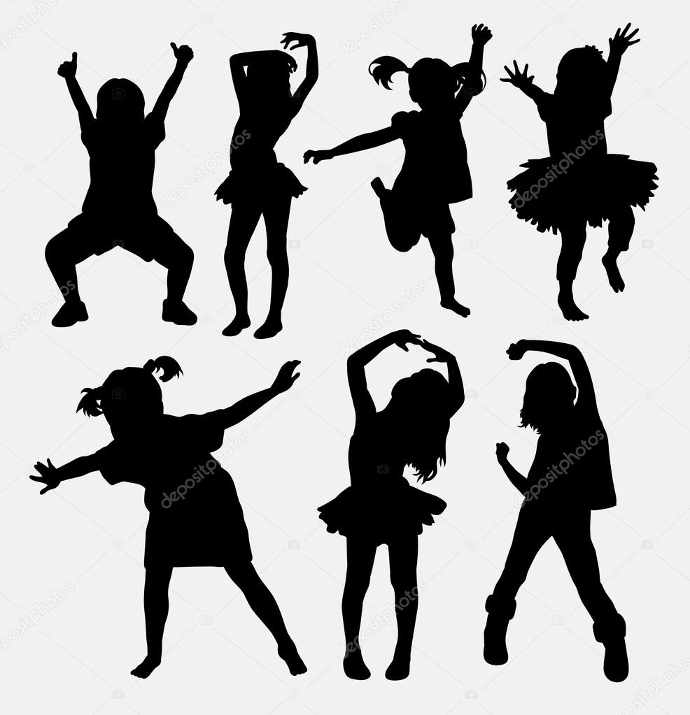 Kid, little girl dancing silhouettes — Stock Vector ...