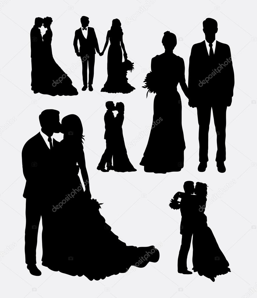 Wedding, male and female in love silhouettes — Stock Vector