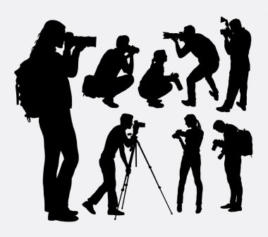 Photographer male and female silhouettes