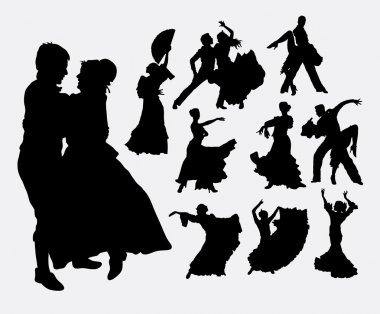 Traditional dance, male, female, and couple action silhouette