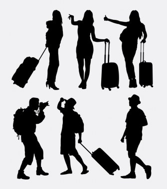 Traveling tourist, male and female activity silhouette