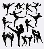 Fotografie Muay Thai Kickboxen Kämpfer Silhouetten