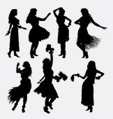Hula-Mädchen Aktivität Silhouetten